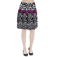 Magenta, black and white abstract art Pleated Skirt