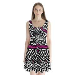 Magenta, black and white abstract art Split Back Mini Dress
