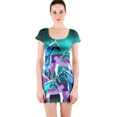 Horses under a galaxy Short Sleeve Bodycon Dress