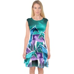 Horses Under A Galaxy Capsleeve Midi Dress