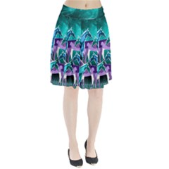 Horses under a galaxy Pleated Skirt