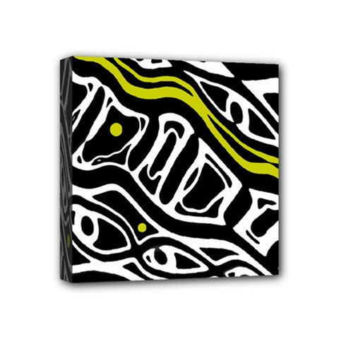 Yellow, black and white abstract art Mini Canvas 4  x 4