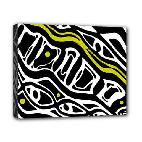 Yellow, black and white abstract art Canvas 10  x 8
