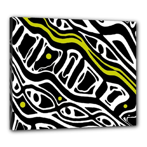 Yellow, black and white abstract art Canvas 24  x 20