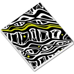 Yellow, black and white abstract art Small Memo Pads