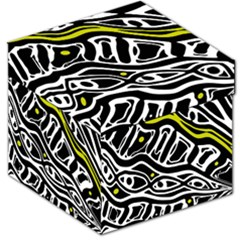 Yellow, black and white abstract art Storage Stool 12