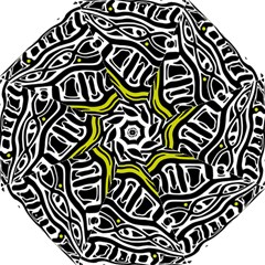 Yellow, black and white abstract art Hook Handle Umbrellas (Large)