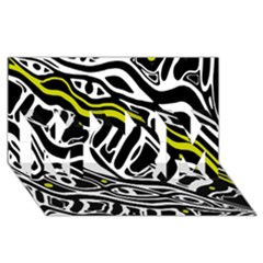 Yellow, black and white abstract art MOM 3D Greeting Card (8x4)