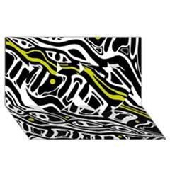 Yellow, black and white abstract art Twin Hearts 3D Greeting Card (8x4)