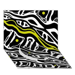 Yellow, black and white abstract art Circle Bottom 3D Greeting Card (7x5)