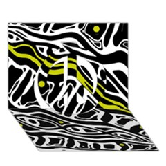 Yellow, black and white abstract art Peace Sign 3D Greeting Card (7x5)
