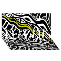 Yellow, black and white abstract art BEST SIS 3D Greeting Card (8x4)