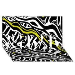 Yellow, black and white abstract art #1 DAD 3D Greeting Card (8x4)