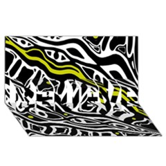 Yellow, black and white abstract art BELIEVE 3D Greeting Card (8x4)