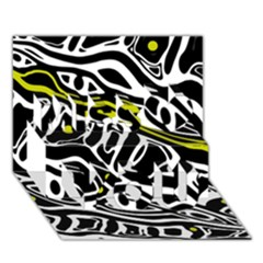 Yellow, black and white abstract art Miss You 3D Greeting Card (7x5)