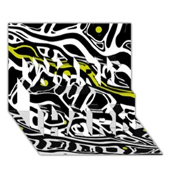 Yellow, black and white abstract art WORK HARD 3D Greeting Card (7x5)