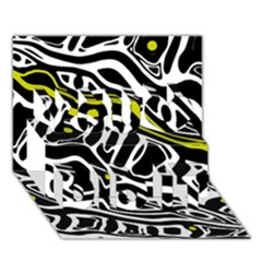 Yellow, black and white abstract art You Did It 3D Greeting Card (7x5)