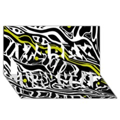 Yellow, black and white abstract art Happy New Year 3D Greeting Card (8x4)