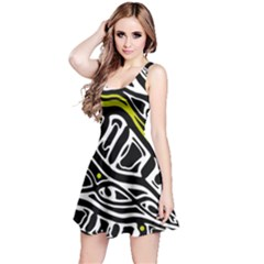 Yellow, black and white abstract art Reversible Sleeveless Dress