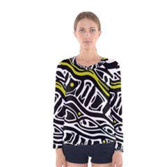 Yellow, black and white abstract art Women s Long Sleeve Tee