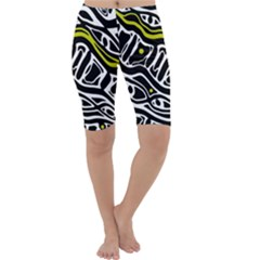 Yellow, black and white abstract art Cropped Leggings