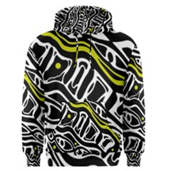 Yellow, black and white abstract art Men s Pullover Hoodie