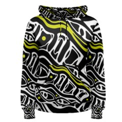 Yellow, black and white abstract art Women s Pullover Hoodie