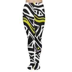 Yellow, black and white abstract art Women s Tights