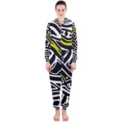 Yellow, black and white abstract art Hooded Jumpsuit (Ladies)