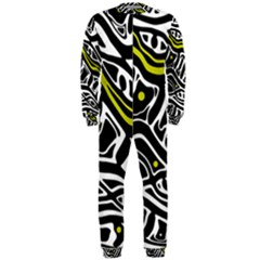 Yellow, black and white abstract art OnePiece Jumpsuit (Men)