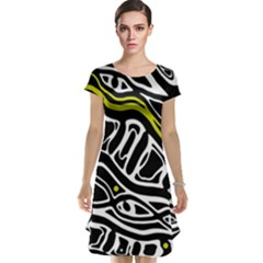 Yellow, black and white abstract art Cap Sleeve Nightdress