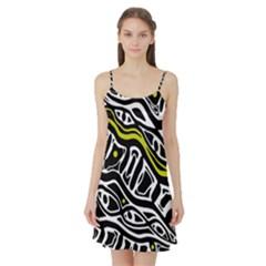 Yellow, black and white abstract art Satin Night Slip