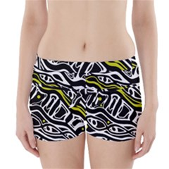 Yellow, black and white abstract art Boyleg Bikini Wrap Bottoms