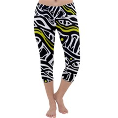 Yellow, black and white abstract art Capri Yoga Leggings