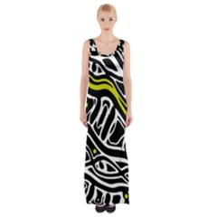 Yellow, Black And White Abstract Art Maxi Thigh Split Dress