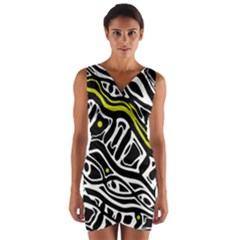 Yellow, black and white abstract art Wrap Front Bodycon Dress