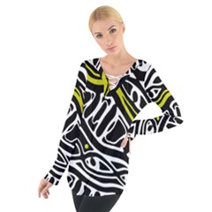 Yellow, black and white abstract art Women s Tie Up Tee