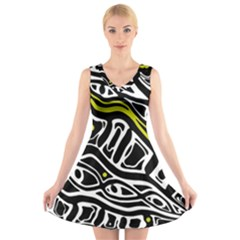 Yellow, black and white abstract art V-Neck Sleeveless Skater Dress