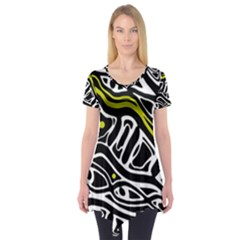 Yellow, black and white abstract art Short Sleeve Tunic