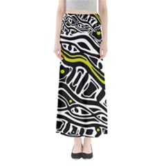 Yellow, black and white abstract art Maxi Skirts