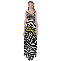 Yellow, Black And White Abstract Art Empire Waist Maxi Dress