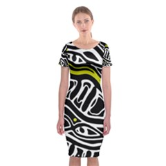 Yellow, black and white abstract art Classic Short Sleeve Midi Dress