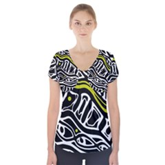 Yellow, black and white abstract art Short Sleeve Front Detail Top