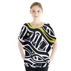 Yellow, black and white abstract art Blouse