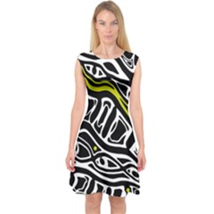 Yellow, black and white abstract art Capsleeve Midi Dress