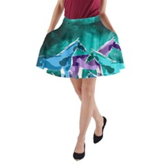 Horses under a galaxy A-Line Pocket Skirt