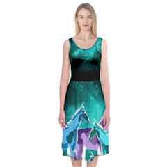 Horses Under A Galaxy Midi Sleeveless Dress