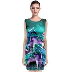 Horses Under A Galaxy Classic Sleeveless Midi Dress