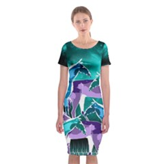 Horses Under A Galaxy Classic Short Sleeve Midi Dress