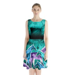 Horses Under A Galaxy Sleeveless Waist Tie Dress